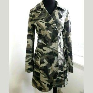 Inc Green Camouflage Trench Jacket Size Medium